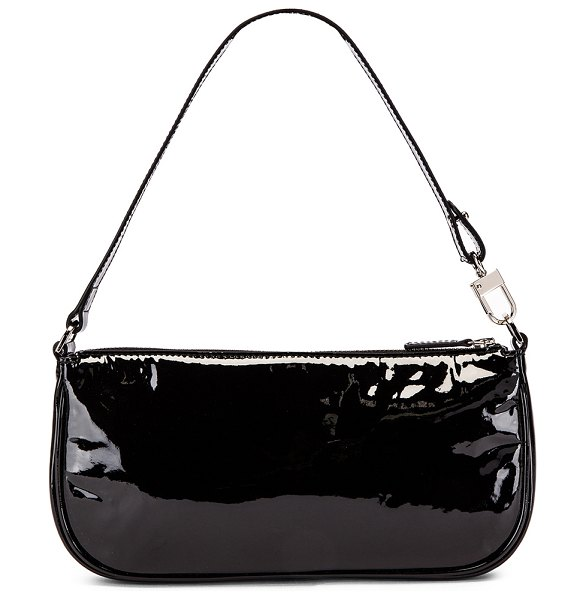 BY FAR rachel patent leather bag in black