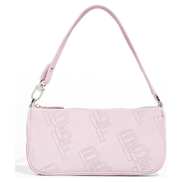 BY FAR Rachel Perforated Suede Shoulder Bag in mauve