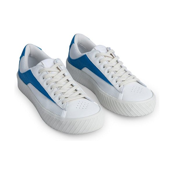 BY FAR rodina mixed media platform sneaker in white and blue
