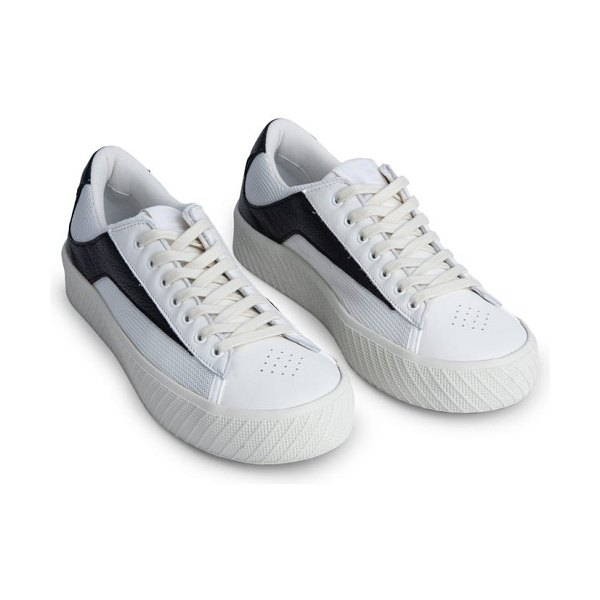 BY FAR rodina mixed media platform sneaker in white and black