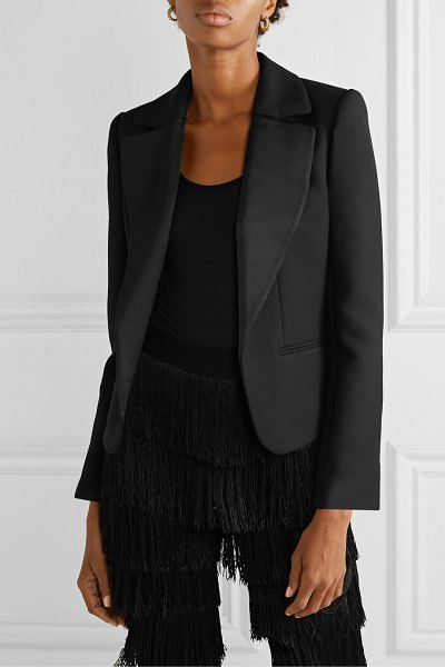 By Malene Birger jocelynn satin trimmed twill blazer in black
