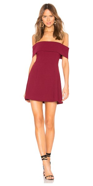 """by the way. Aubrey Off Shoulder Dress in wine - """"96% poly 4% elastane. Hand wash cold. Unlined. Foldover..."""