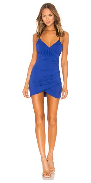 by the way. Dahlia Wrap Mini Dress in blue - 94% cotton 6% spandex. Hand wash cold. Unlined. Faux...