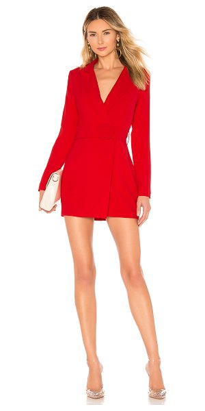 superdown Joan Belted Blazer Dress in red - 100% poly. Hand wash cold. Fully lined. Mid-weight crepe...