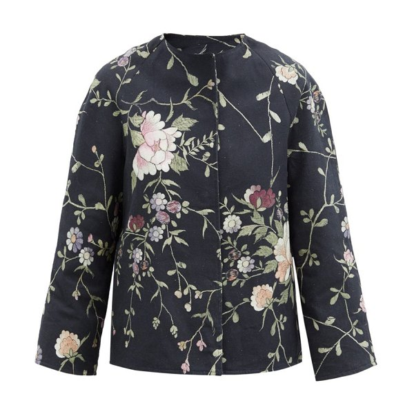 BY WALID ilana upcycled floral-jacquard cotton jacket in black multi