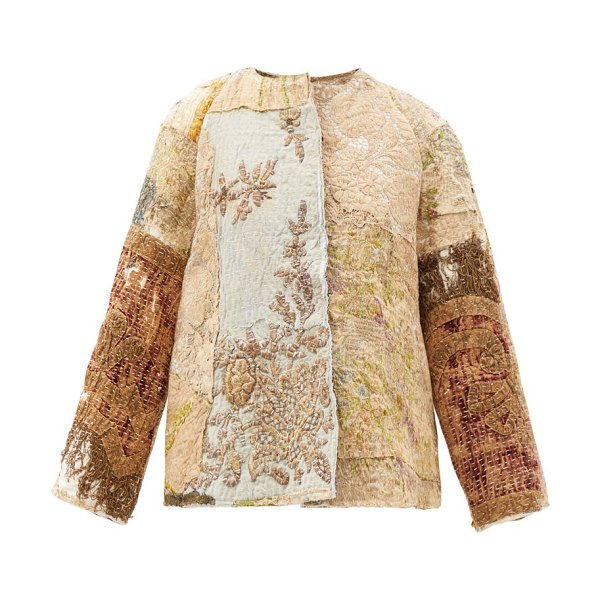BY WALID ilana upcycled floral-jacquard silk jacket in light