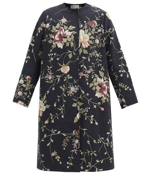 BY WALID tanita floral-embroidered cotton-canvas coat in black multi