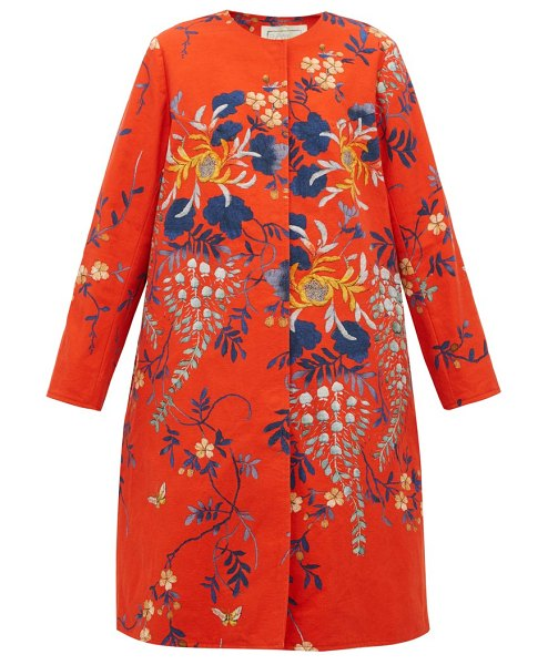 BY WALID tanita floral print cotton coat in red multi