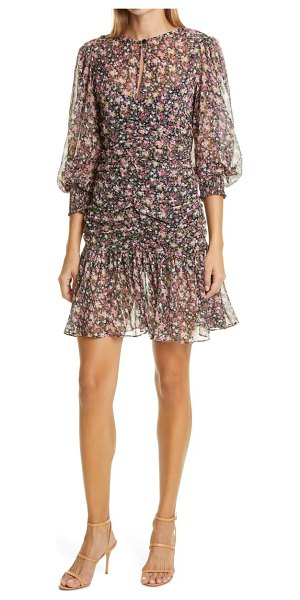 byTiMo floral ruched long sleeve chiffon dress in flowers
