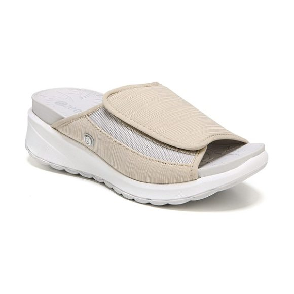 BZEES galaxy slide sandal in taupe fabric - A wide, adjustable band fashioned from stretch fabric...