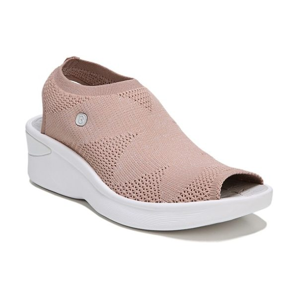 BZEES secret peep toe knit sneaker in pink fabric - A wonderfully comfortable peep-toe sneaker made with...