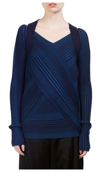 C dric Charlier Virgin Wool Striped Strap-Detail Sweater in navy