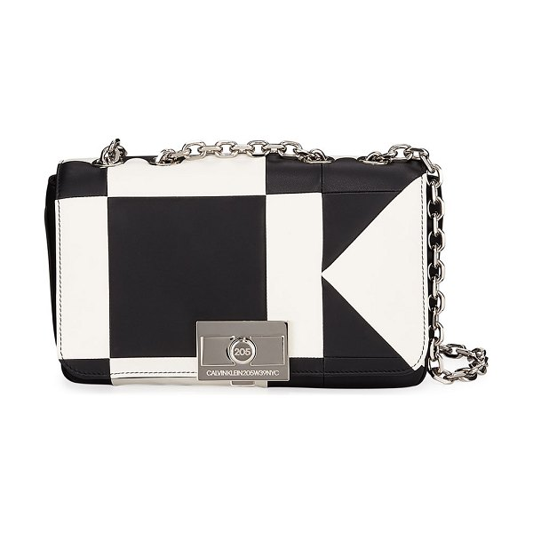 CALVIN KLEIN 205W39NYC Billie Colorblock Leather Shoulder Bag in white/black - CALVIN KLEIN 205W39NYC two-tone leather shoulder bag....