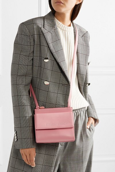 CALVIN KLEIN 205W39NYC embossed leather shoulder bag in pastel pink - We love how Raf Simons brings a fresh perspective to...