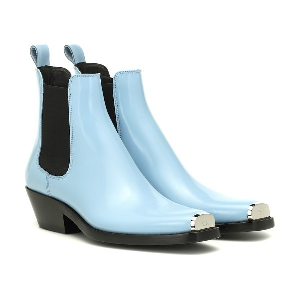 CALVIN KLEIN 205W39NYC exclusive to mytheresa – western claire leather ankle boots in blue