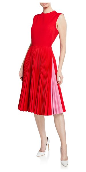 CALVIN KLEIN 205W39NYC Pleated-Skirt Crewneck Sleeveless Fit-and-Flare Dress in pink/red