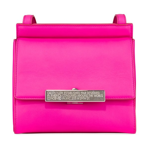 CALVIN KLEIN 205W39NYC Starr Neon Leather Crossbody Bag in pink - CALVIN KLEIN 205W39NYC smooth neon leather crossbody...