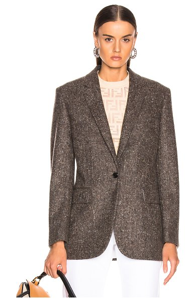 CALVIN KLEIN 205W39NYC Tailored Blazer in brown - Self: 100% wool - Lining: 100% cotton.  Made in Italy. ...