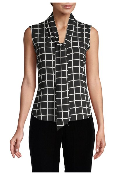 Calvin Klein Checkered Sleeveless Top in black cream