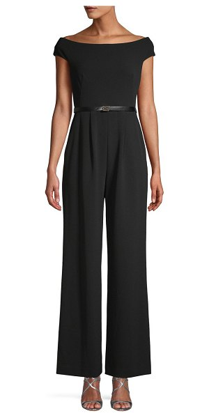 Calvin Klein Off-The-Shoulder Belted Jumpsuit in black