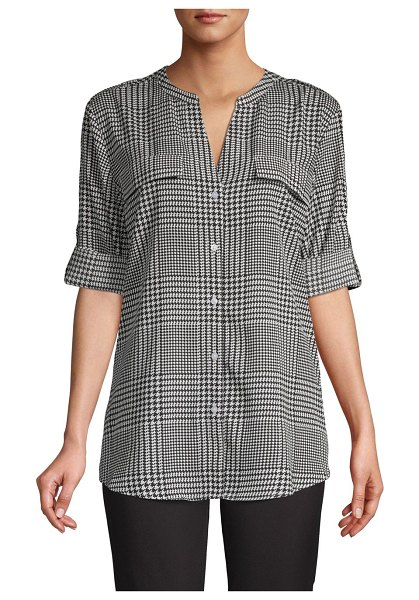Calvin Klein Rolled-Sleeve Button-Front Plaid Blouse in black white