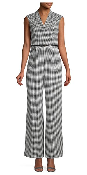 Calvin Klein Collection Sleeveless Gingham-Print Belted Jumpsuit in black cream