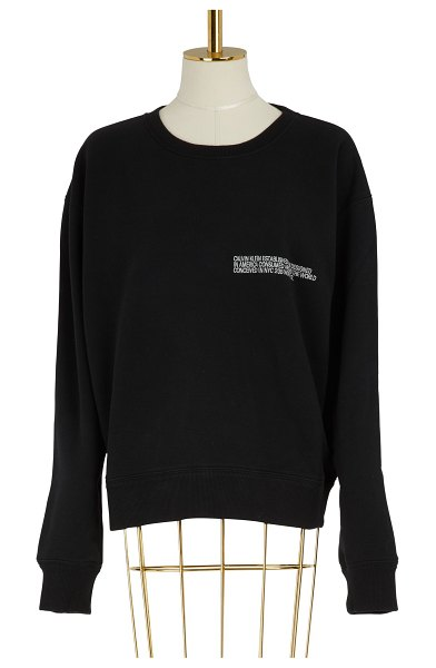 Calvin Klein Cotton crew neck sweater in black