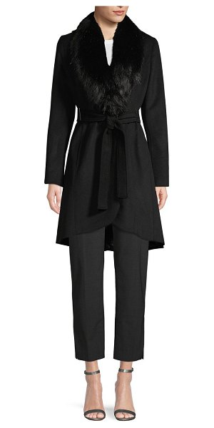 Calvin Klein Faux Fur-Trimmed Belted Coat in black