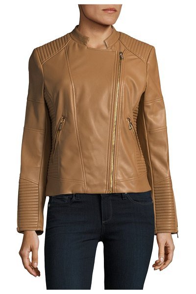 CALVIN KLEIN Faux Leather Moto Jacket - Paneled details accent jacket for cold weather. Stand...