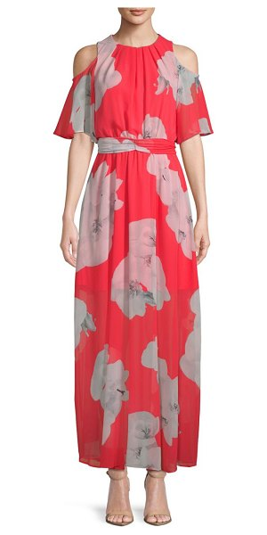Calvin Klein Cold Shoulder Floral Tie Maxi Dress