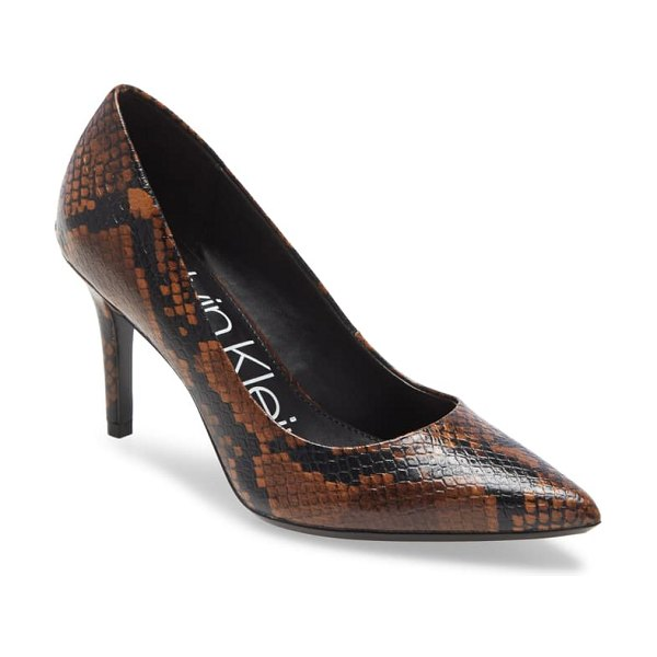 Calvin Klein 'gayle' pointy toe pump in snake print leather