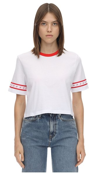 Calvin Klein Jeans Cropped logo side tape t-shirt in white