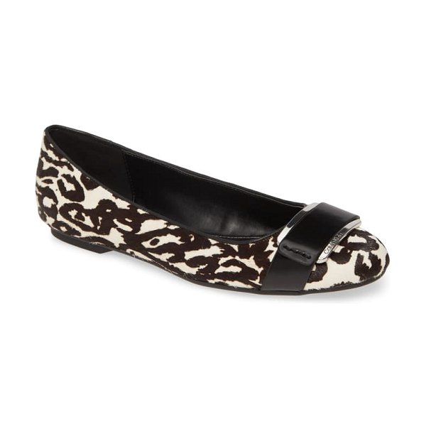 Calvin Klein oneta genuine calf hair ballet flat in white animal print calf hair