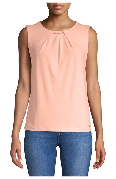93ce0048ea4f9d Calvin Klein Pleat Neck Sleeveless Top in nectar - On-trend top with  metallic hardware