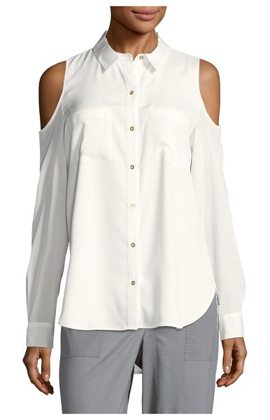 Calvin Klein Solid Cold-Shoulder Casual Button-Down Shirt in blush