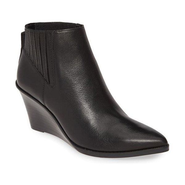 Calvin Klein tabby wedge bootie in black leather