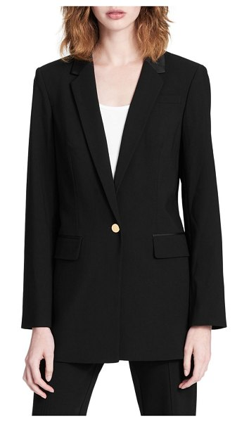 Calvin Klein Tuxedo Jacket in black - .An embroidered trim heightens this chic jacket. Notch...