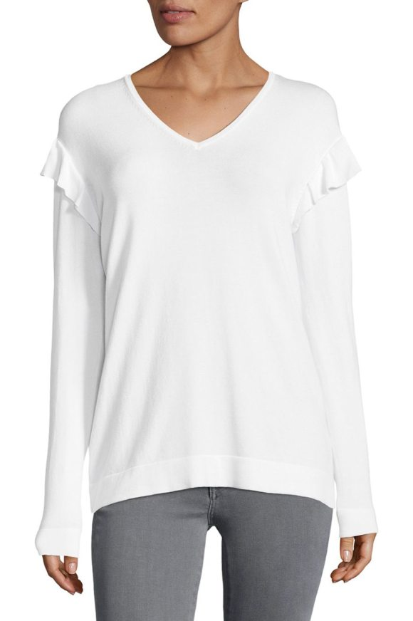 Calvin Klein V-neck Ruffle Sweater in soft white - Sweater with ruffled accent at the shoulder.V-neck. Long...