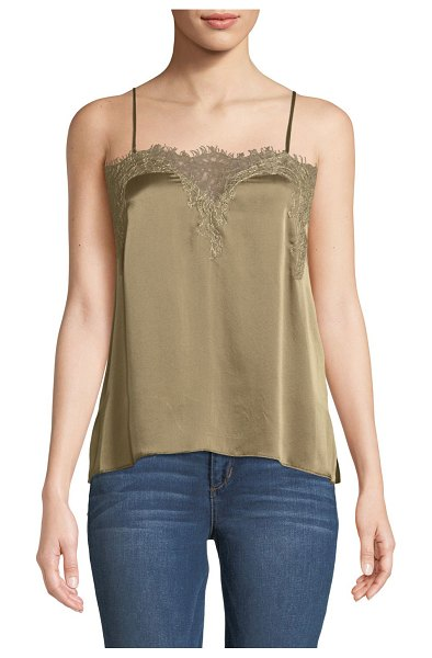 CAMI NYC The Sweetheart Charmeuse Cami with Lace in olive