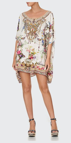 Camilla Short Floral Coverup Silk Kaftan in by the meadow