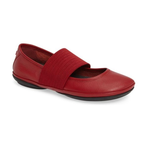 Camper right nina leather ballerina flat in red leather