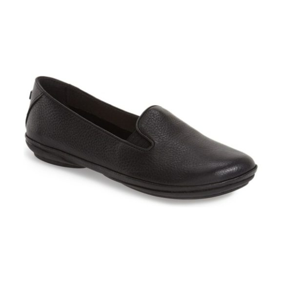 Camper 'right nina' leather flat in black/ black leather
