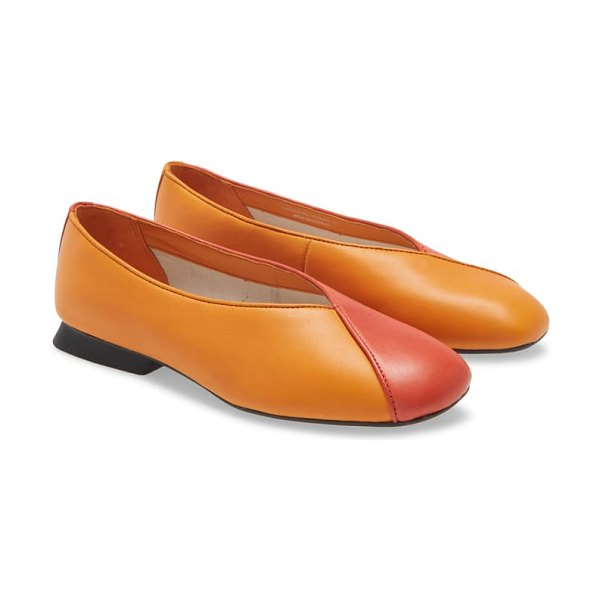 Camper twins colorblock flat in bright multicolor leather