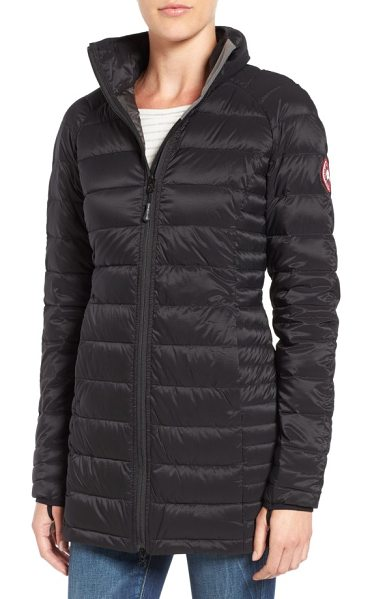 Canada Goose 'brookvale' hooded quilted down coat in black/ graphite