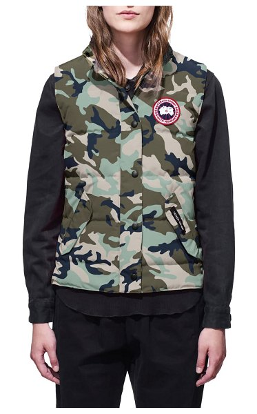Canada Goose freestyle slim fit down vest in classic camo silverbirch