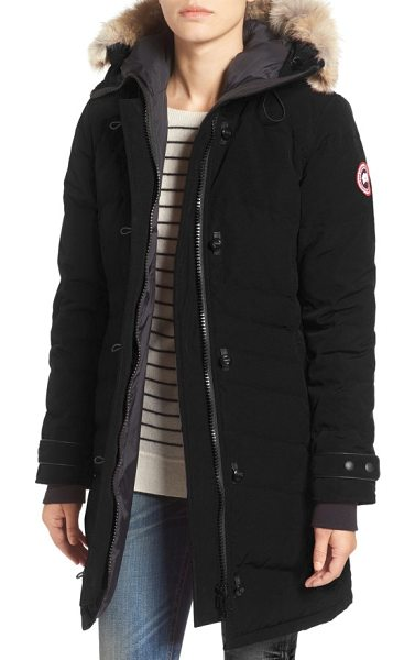 Canada Goose lorette hooded down parka with genuine coyote fur trim in black