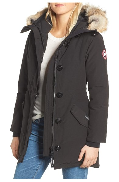 Canada Goose rossclair fusion fit genuine coyote fur trim down parka in black - Sure to be a winter-weather staple, this cleanly...