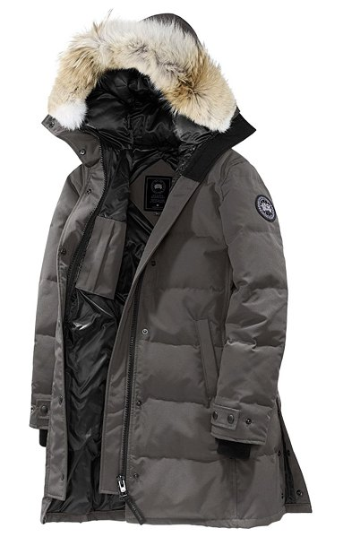 Canada Goose black disc shelburne coyote fur-trim down parka in coastal grey