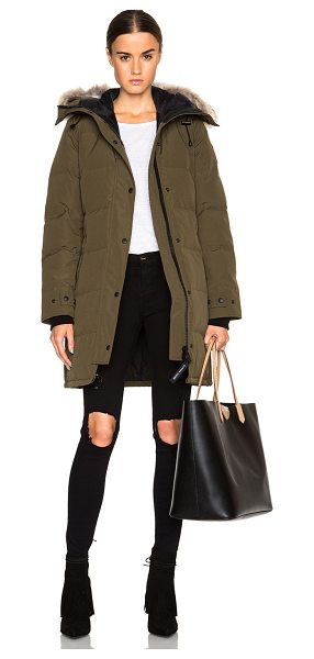 Canada Goose shelburne parka with coyote fur in military green