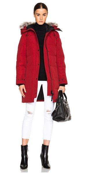 Canada Goose shelburne parka with coyote fur in elderberry